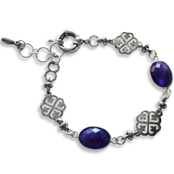 Image of ALEXIA AMETHYST & FLORAL CHARM BRACELET
