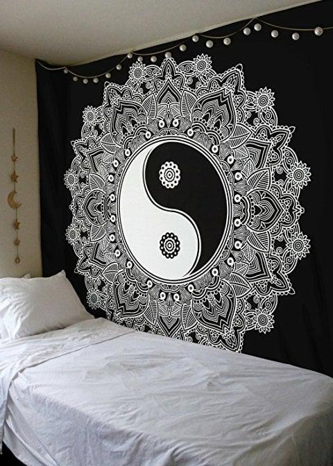 Image of Ying Yang Mandala Tapestry