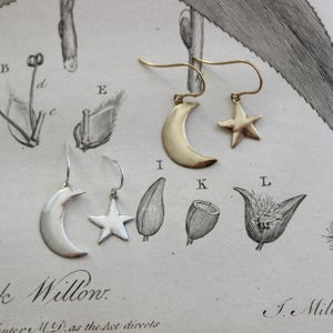 Image of moon & star earrings (in silver or 9ct gold)
