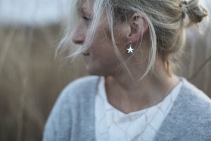 Image of moon & star earrings in gold or silver