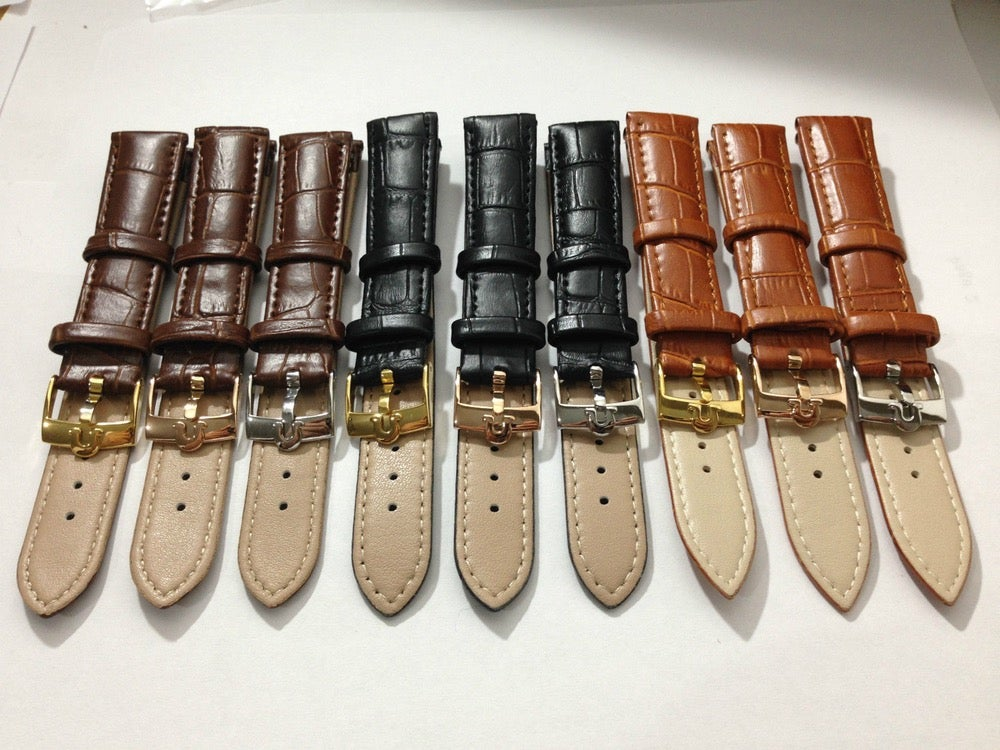 Image of OMEGA BUCKLES-S/STEEL-YELLOW G/P-ROSE G/P ON GENUINE LEATHER STRAPS,18MM,20MM.