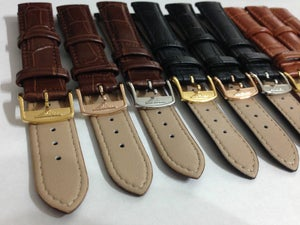 Image of LONGINES BUCKLES-S/STEEL-YELLOW G/P-ROSE G/P ON BEAUTIFUL LEATHER STRAPS,18/20MM