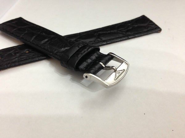 Image of LONGINES FLAT/THIN CROC GENTS LEATHER STRAPS,18MM-20MM,BLACK