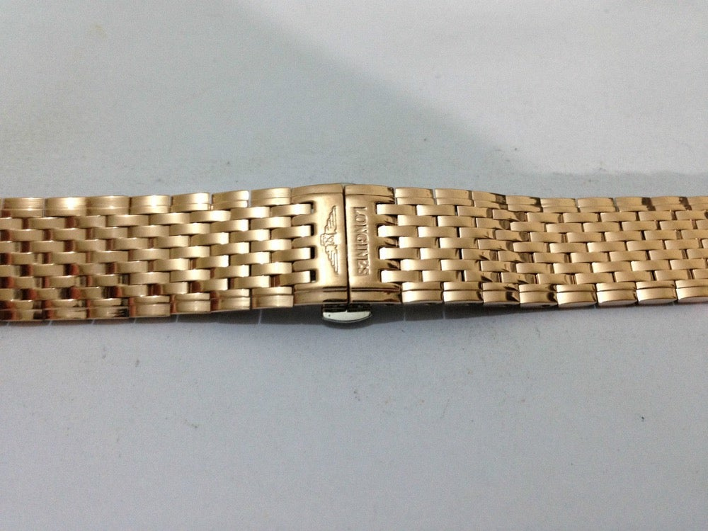 Image of NEW LONGINES GENTS WATCH STRAP, 14MM-20MM, ROSE GOLD PLATED