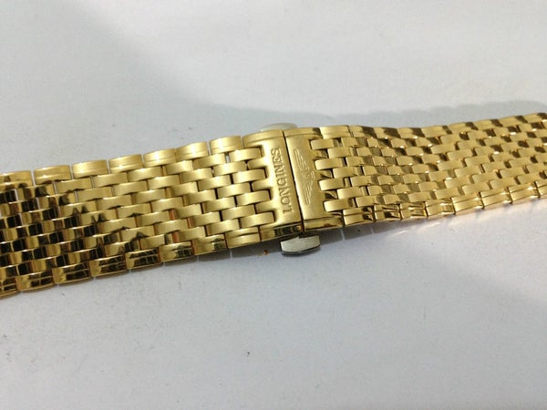 Image of NEW LONGINES GENTS WATCH STRAP, 13MM-20MM, YELLOW GOLD PLATED