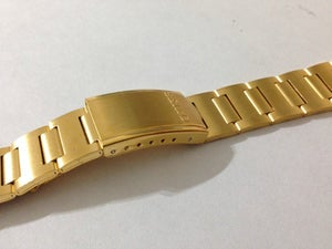 Image of NEW 19MM SEIKO YELLOW GOLD PLATED GENTS WATCH STRAP,OUT CURVED LUG ENDS