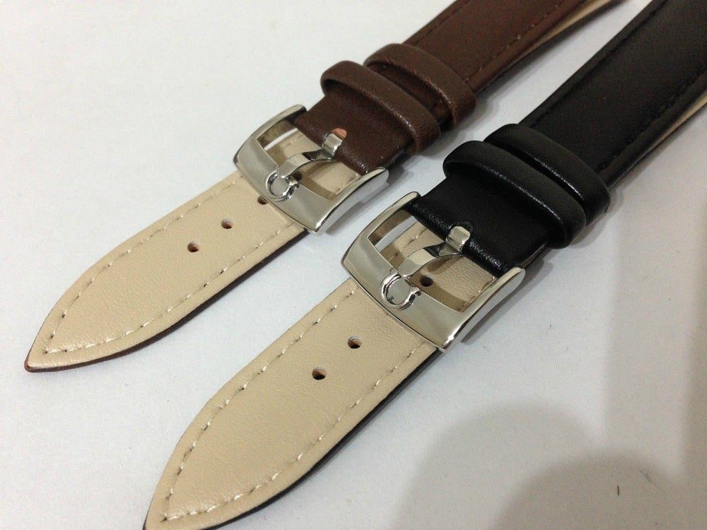 Image of OMEGA STAINLESS STEEL SHS BUCKLE ON GENUINE LEATHER STRAPS,NEW,18MM,20MM