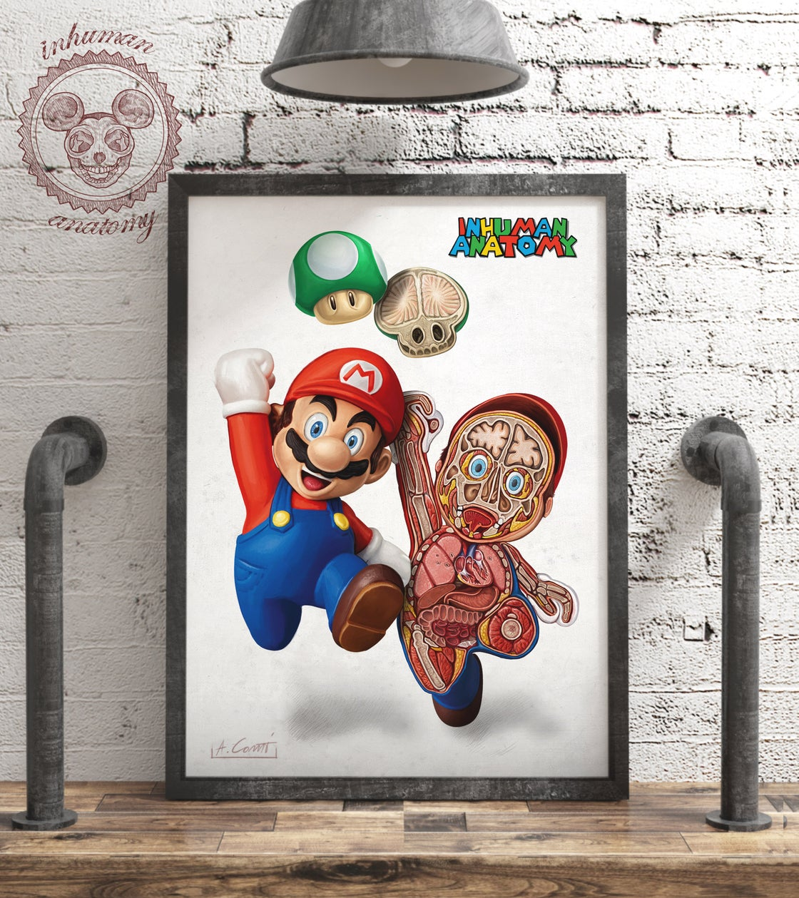 Image of SUPER MARIO- SWITCH ANATOMY  limited edition of 100 Giclèe print on fine art canvas