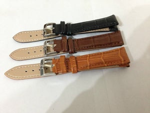 Image of OMEGA STAINLESS STEEL SHS BUCKLE ON GENUINE CROC LEATHER STRAPS,NEW,18MM,20MM
