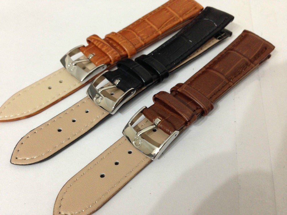 Image of OMEGA STAINLESS STEEL EL BUCKLE ON GENUINE CROC LEATHER STRAPS,NEW,18MM,20MM
