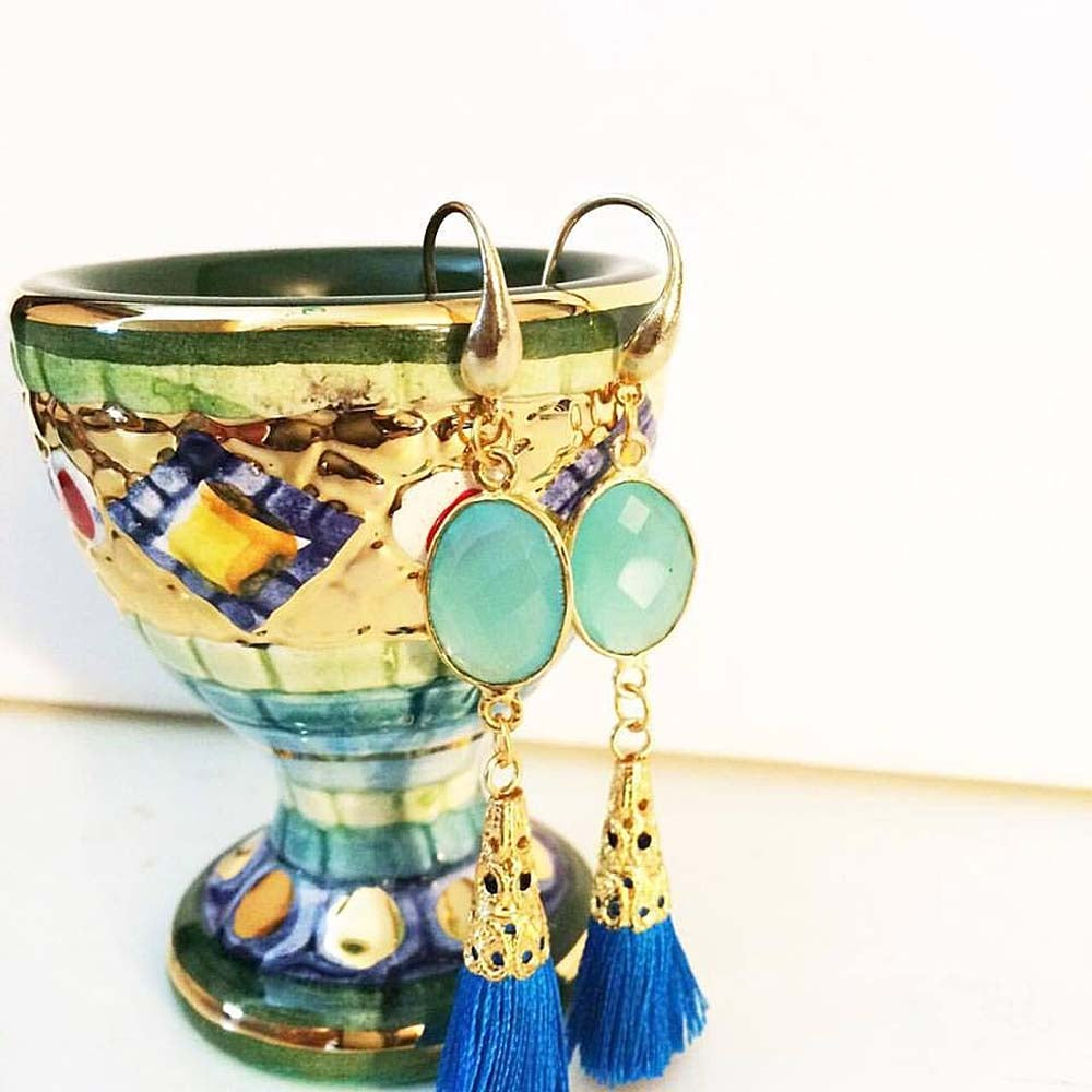 Image of AQUA QUARTZ TASSEL EARRINGS