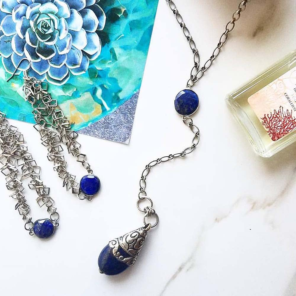 Image of LAPIS DROP LARIAT NECKLACE