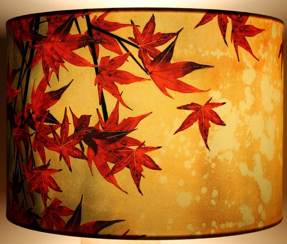 Image of 'Japanese Maple' Drum Lampshade by Lily Greenwood (30cm, Table Lamp or Ceiling)