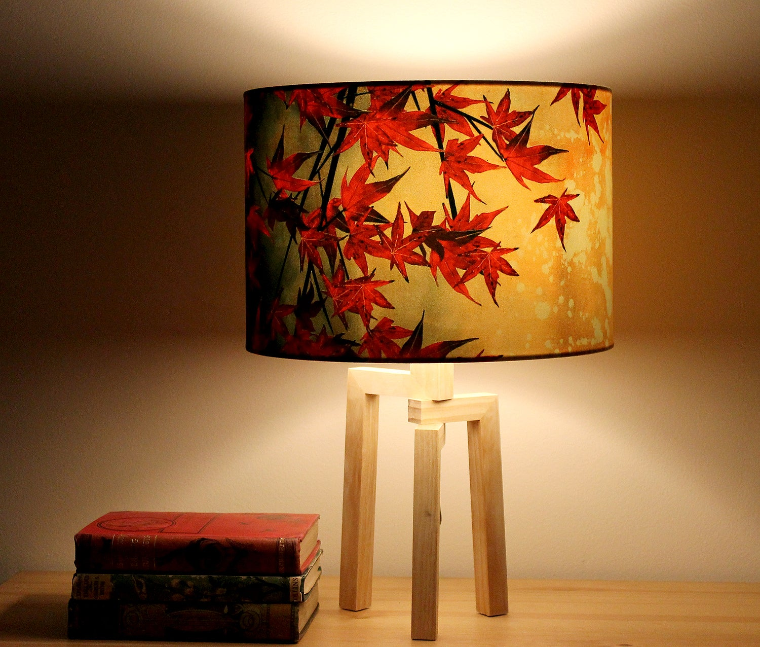 Japanese Maple Drum Lampshade By Lily Greenwood 30cm