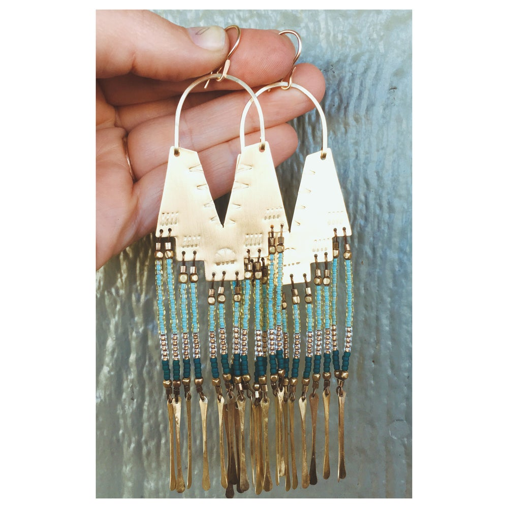 Image of Demi Sea Foam Earrings with Brass Fringe