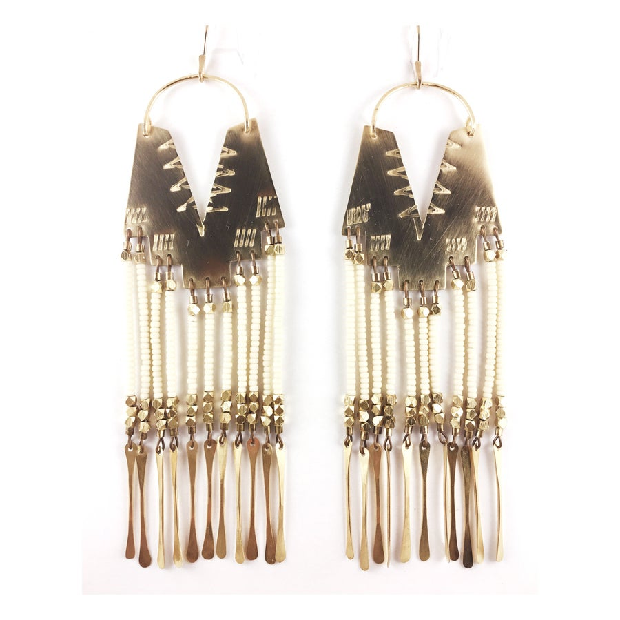 Image of Demi Cream Earrings with Brass Tassels