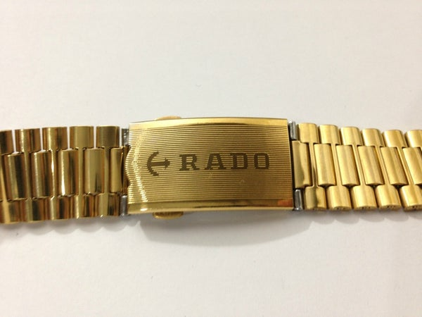 Image of RADO PUSH BUTTON BUCKLE GOLDEN 18MM GENTS WATCH STRAP.NEW