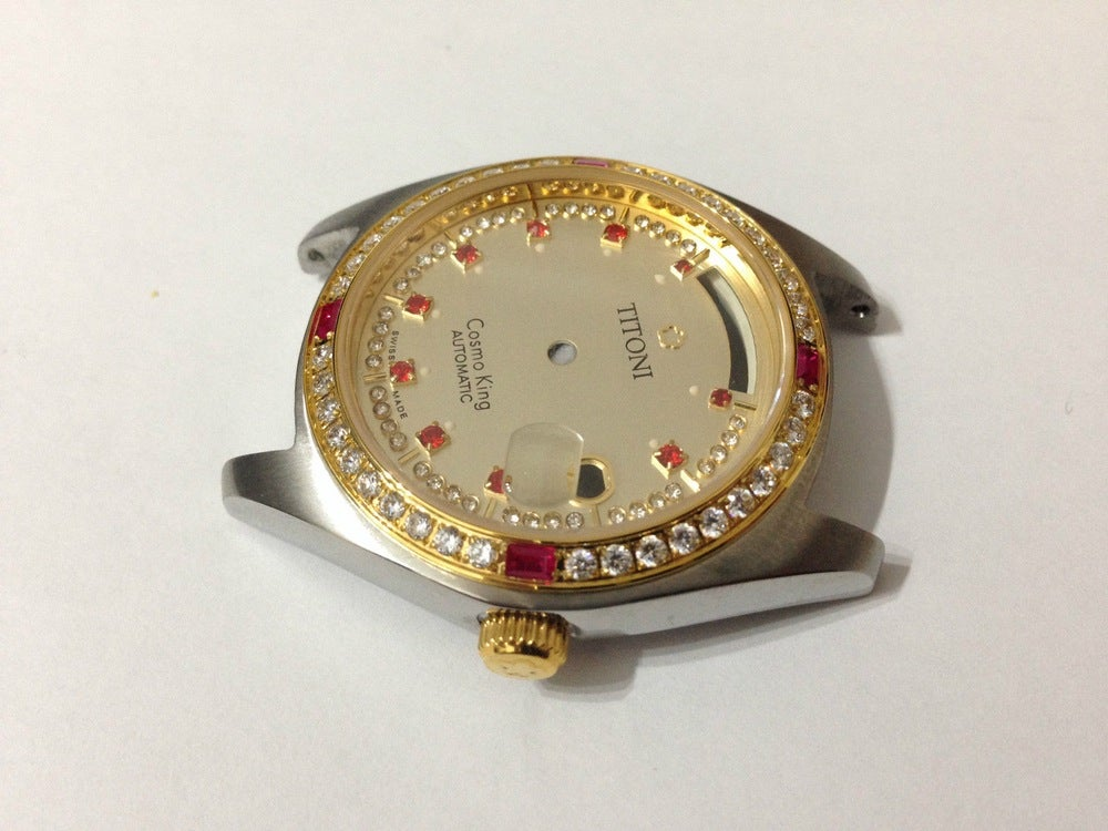 Image of STUNNIUNG TITONI COSMO KING COMPLETE GENTS WATCH CASE SET.GOLDEN DIAL,DAY/DATE