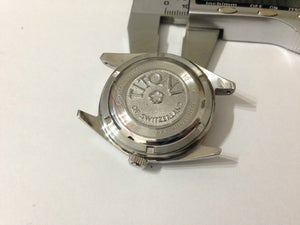 Image of STUNNIUNG TITONI COSMO KING COMPLETE GENTS WATCH CASE SET.WHITE DIAL,DAY/DATE