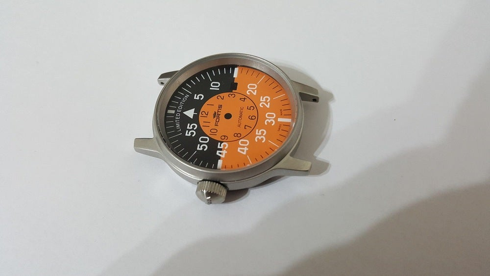 Image of FORTIS FLIEGER GENTS WATCH CASE SET.MINT,ORANGE COCKPIT DIAL,DATE.+AUTO ROTOR