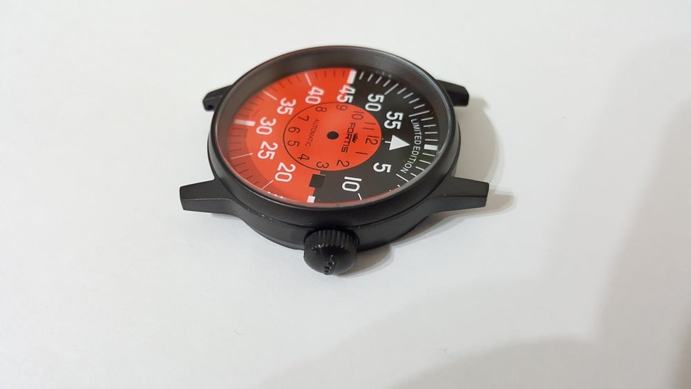 Image of FORTIS FLIEGER GENTS WATCH CASE SET, ALL BLACK.RED COCKPIT DIAL,DATE,+AUTO ROTOR.