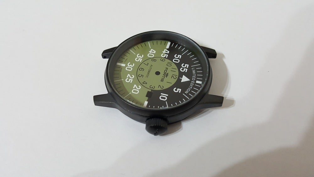 Image of FORTIS FLIEGER GENTS WATCH CASE SET,ALL BLACK,MILITARY GREEN COCKPIT DIAL,DATE.+AUTO ROTOR