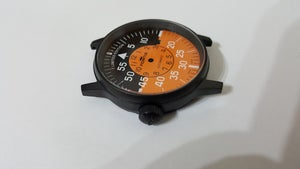Image of FORTIS FLIEGER GENTS WATCH CASE SET, ALL BLACK,ORANGE COCKPIT DIAL,DATE.+AUTO ROTOR