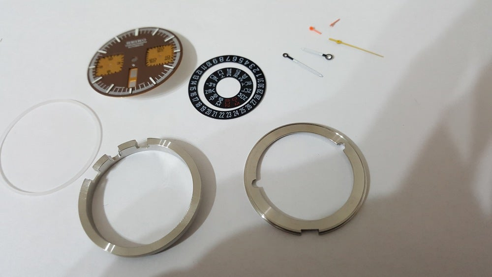 Image of NEW INTERNAL PARTS FOR SEIKO 6138-0040 BULL HEAD CHRONOGRAPH MENS WATCH,BROWN/GOLDEN DIAL.