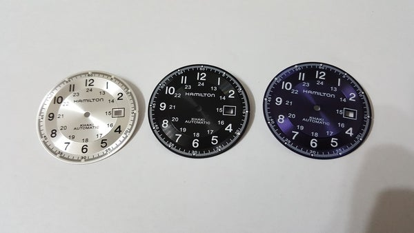 Image of NEW HAMILTON KHAKI GENTS WATCH DIAL,BLACK--PURPLE--SILVER--BLUE--