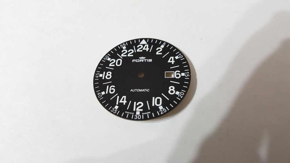 Image of FORTIS FLIEGER GENTS 24HR NUMERAL WATCH DIAL.NEW(BLACK,WITH DATE)