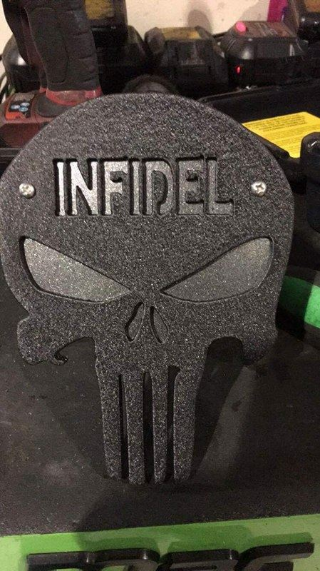"Image of Punisher Skull with ""INFIDEL"" Hitch Cover - Two Layer"