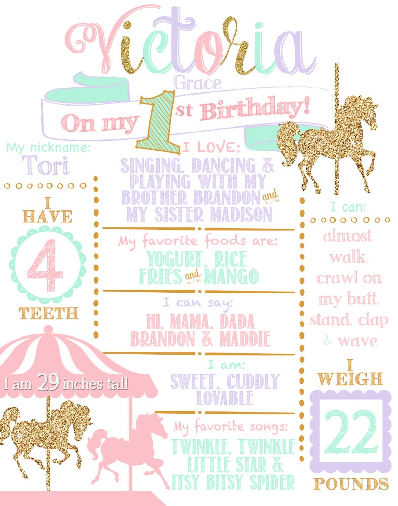 Image of Carousel Merry-go-round Birthday Whiteboard or Chalkboard- horse, pink, lavender, mint, gold glitter