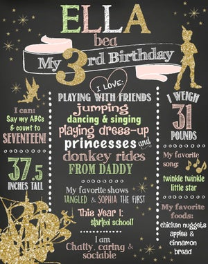 Image of Peter Pan themed Birthday Whiteboard or Chalkboard- tinkerbell, pink, green, gold glitter