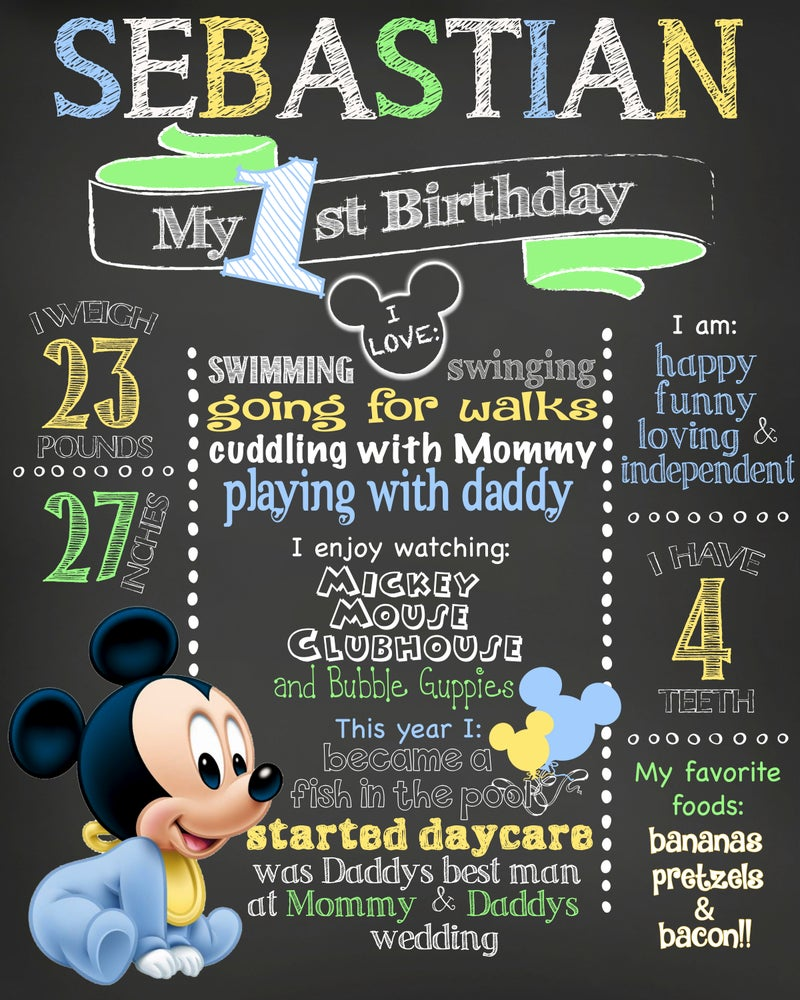 Image of Baby Mickey Mouse themed Birthday Chalkboard- mickey mouse clubhouse, light blue, green, yellow