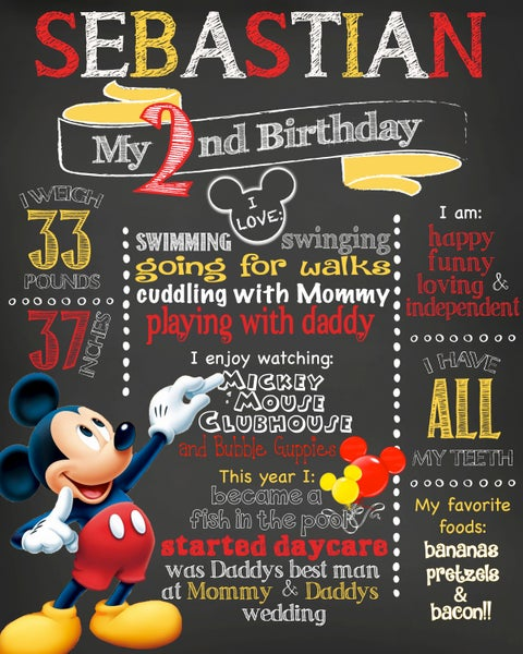 Image of Mickey Mouse themed Birthday Chalkboard- mickey mouse clubhouse, red, yellow, keepsake