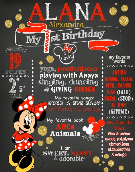 Image of Minnie Mouse Birthday Chalkboard- red, gold glitter, polka dots, mickey mouse clubhouse, keepsake