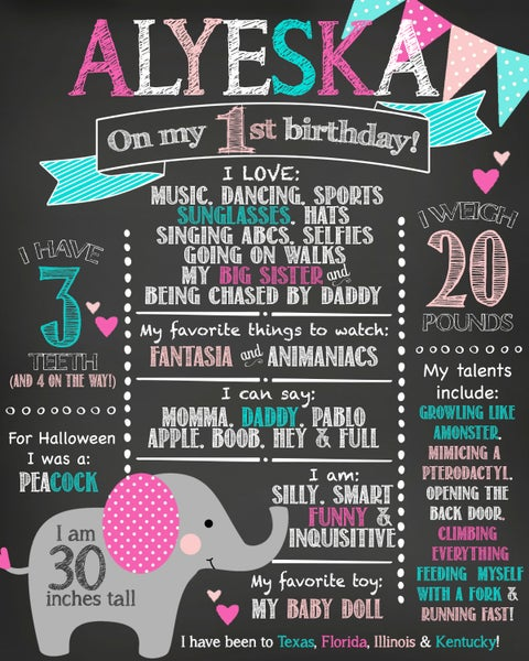 Image of Little Elephant themed Birthday Chalkboard- elephant, pink, gray, teal, hearts, polka-dots, banner