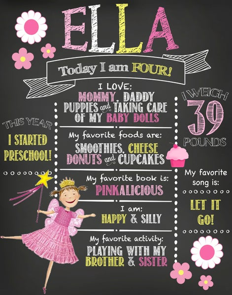 Image of Pinkalicious themed Birthday Chalkboard- pink, cupcakes, yellow, flowers, daisies, keepsake