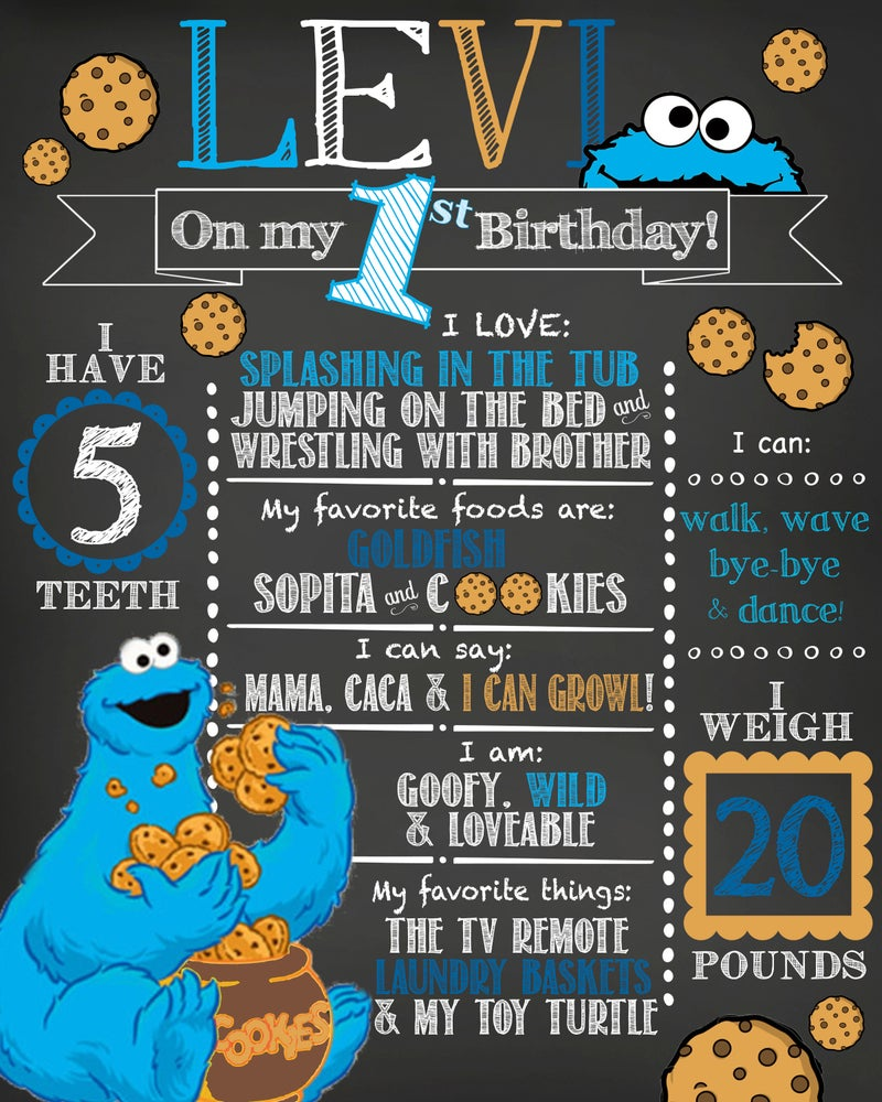 Image of Cookie Monster Birthday Chalkboard- cookie, monster, blue, tan, chocolate chip, party, keepsake