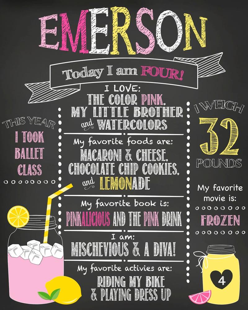 Image of Lemonade Stand Birthday Chalkboard, pink, yellow, lemonade, lemons, mason jar, keepsake