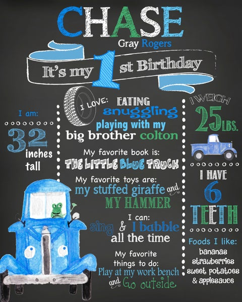 Image of Little Blue Truck Birthday Chalkboard- book, truck, frog, blue, green, keepsake