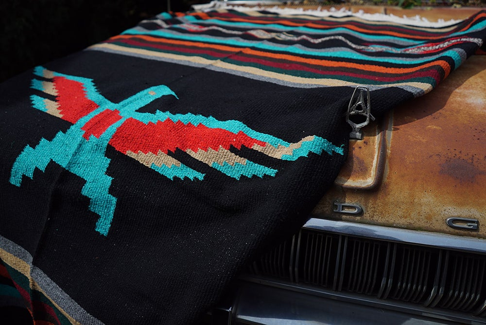 Image of PREORDER Authentic Mexican Blanket featuring 'Thunderbird' in BLACK