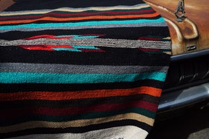 Image of Authentic Mexican Blanket featuring 'Thunderbird' in BLACK