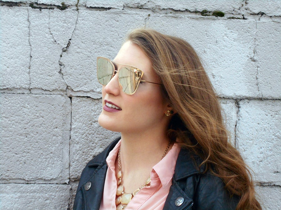 Image of Gabrielle: Trendy All Gold Cat Eye Sunglasses with Gold Mirrored Lenses