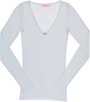 Image of V NECK TOP ~HEART POINTELLE  Lt. Blue