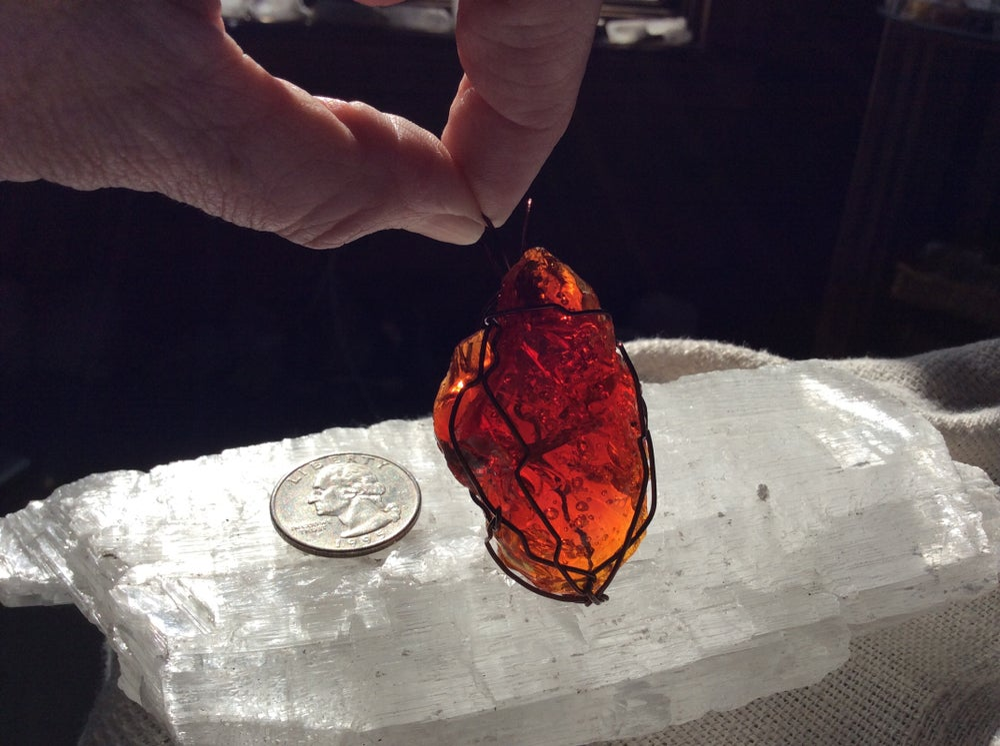 Image of Divine Solar Fire Sea-foam Andara Pendant