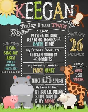 Image of Noah's Ark Birthday Chalkboard- animals, elephant, hippo, giraffe, dolphin, blue, green, pink