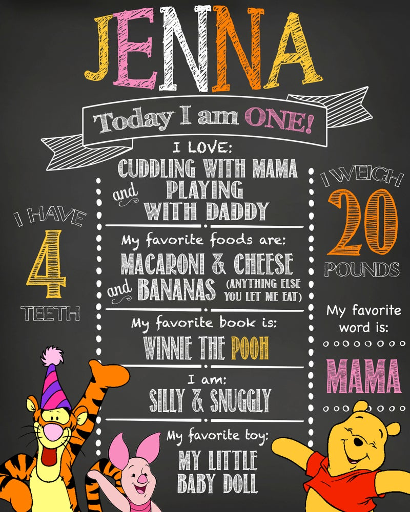 Image of Winnie the Pooh and Friends Birthday Chalkboard- Pooh, Piglet, Tigger, pink, orange, yellow