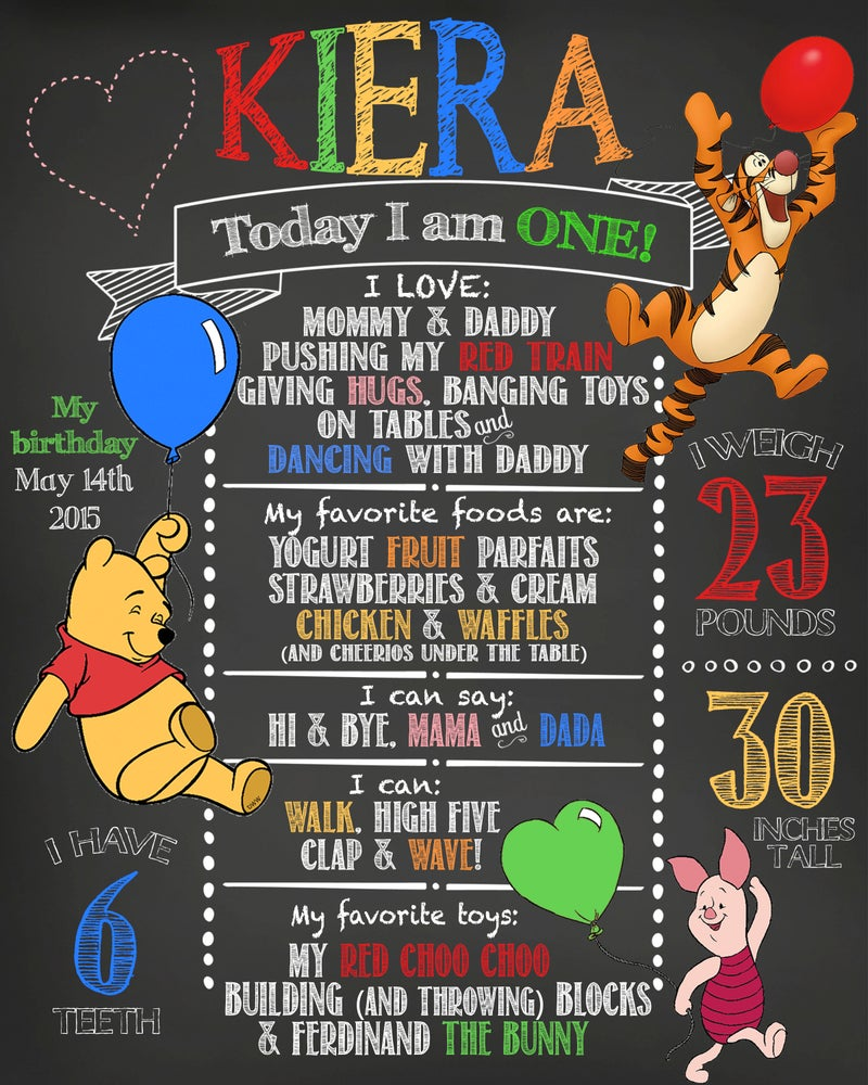 Image of Winnie the Pooh Birthday Chalkboard- Pooh, Tigger, Piglet, balloons red, yellow, pink
