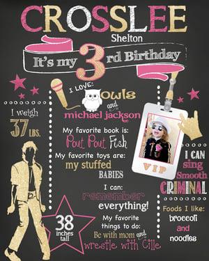 Image of Popstar Birthday Chalkboard- Music, rock, pop, star, MJ, gold, glitter, pink, teal, sparkle